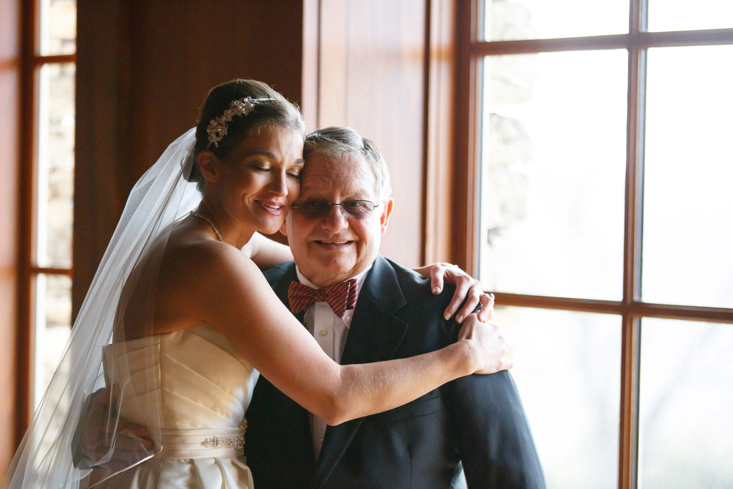 bride and father emotional wedding photo