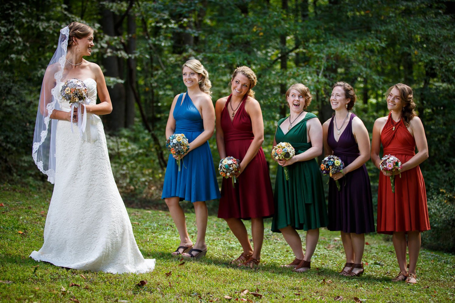 multi color bridesmaids dresses annapolis wedding photographer