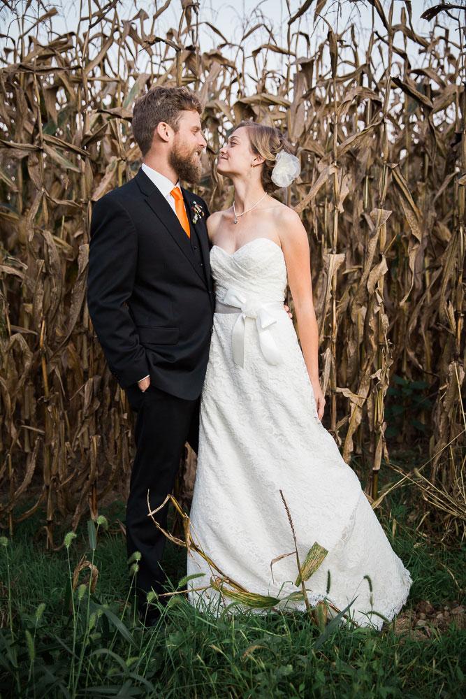 corn field wedding maryland wedding photographer
