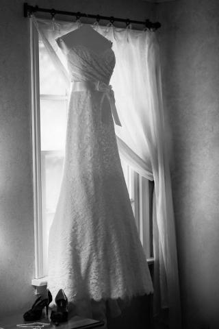 wedding dress by window