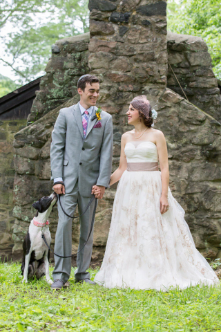 bride groom and dog patapsco state park wedding