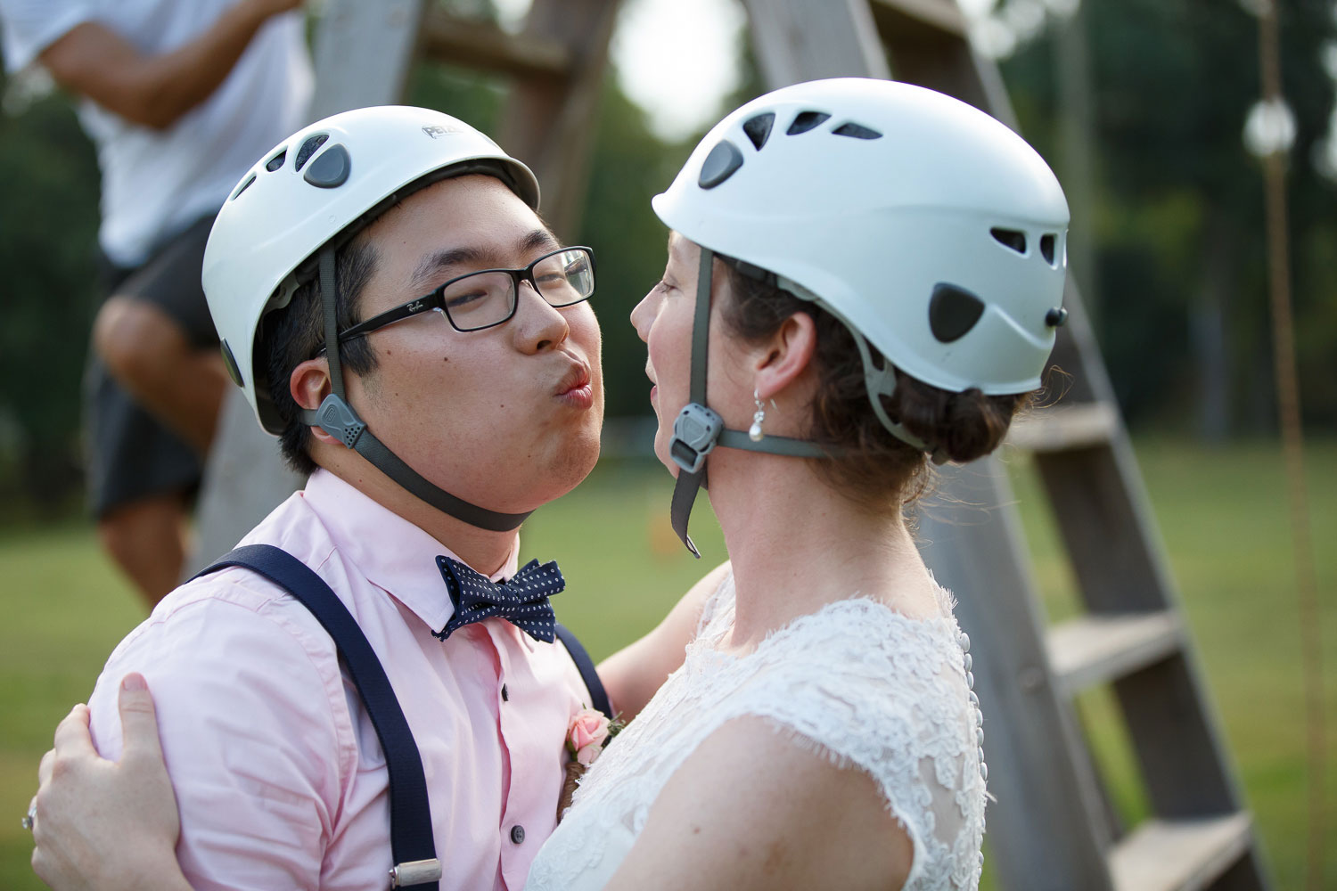 wedding zipline kiss annapolis wedding photographer