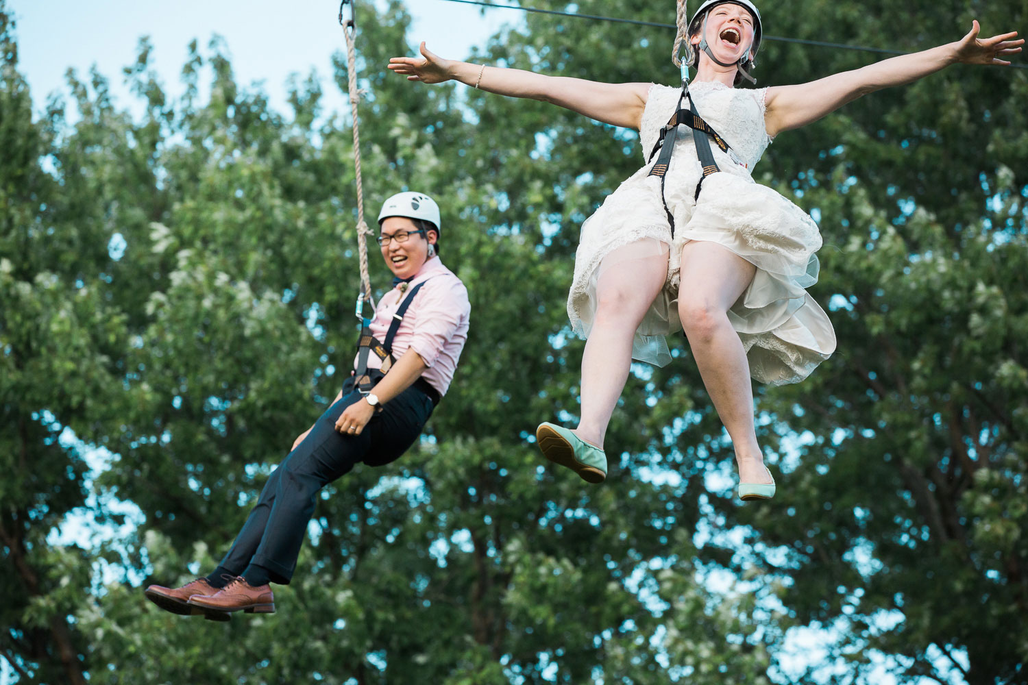 bride and groom zipline annapolis wedding